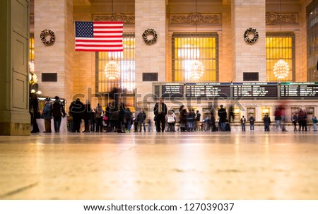 NEW YORK CITY - JAN 4: Interior of Grand Central Station on Jan 4, 2013 in NYC. This 100 year old terminal is the largest train station in the world with 44 platforms and 67 tracks - stock photo