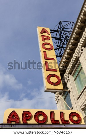 NEW YORK CITY - JAN 8: Sign outside of Apollo Theater on January 8, 2012 in Harlem, NYC. It's one of the oldest and most famous music halls and listed on the National Register of Historic Places. - stock photo