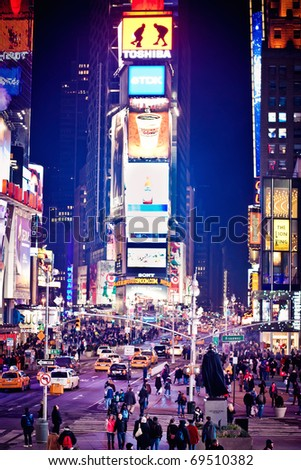 NEW YORK CITY - JAN 9: Times Square, featured with Broadway Theaters and animated LED signs, is a symbol of New York City and the United States, January 9, 2011 in Manhattan, New York City. - stock photo