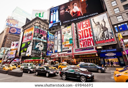 NEW YORK CITY - JAN 6: Times Square in morning, featured with Broadway Theaters is a symbol of New York City and the United States, January 6, 2011 in Manhattan, New York City. - stock photo