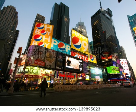 NEW YORK CITY - JANUARY 22: Billboards at Times Square in New York City on January 22, 2009. Times Square is a symbol of New York City. - stock photo