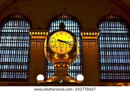 New York City - January 8, 2015: Grand Central Terminal Clock, New York City, USA. - stock photo