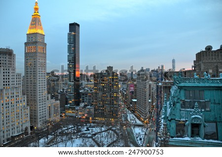 New York City - January 28, 2015: New York City Manhattan midtown view, New York City, USA. - stock photo