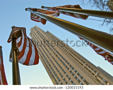 NEW YORK CITY - JANUARY 18: The GE Building is the centerpeice of Rockefeller Center and is known for it's 360 degree observation deck January 18, 2010 in New York, NY. - stock photo