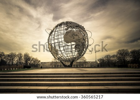 NEW YORK CITY - JANUARY 7, 2016:  Vintage Unisphere at Flushing Meadows-Corona Park in Queens was installed for the 1964 World's Fair.  - stock photo
