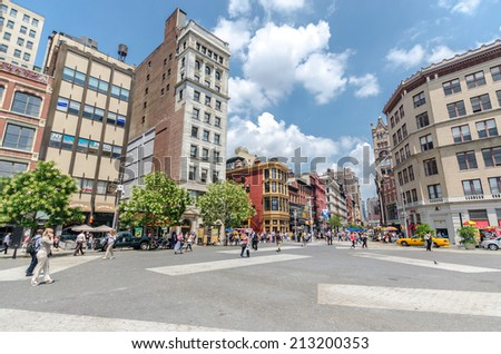 NEW YORK CITY - JUL 22: Union Square on July 22, 2014 in New York. The square's name represents the union of the two principal thoroughfares Broadway and 4th Ave. - stock photo