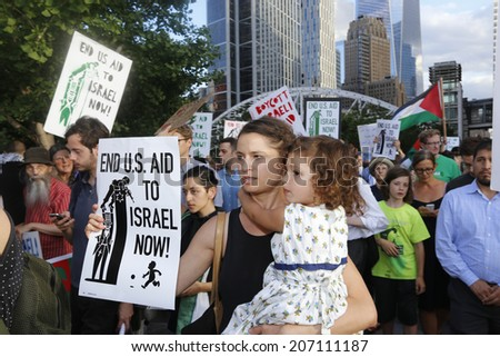 NEW YORK CITY - JULY 25 2014: ADULAH NY, a organization dedicated to divestiture from Israel, staged a protest & march in Lower Manhattan against Israeli actions in Gaza. - stock photo