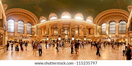 NEW YORK CITY - JULY 18: Interior of Grand Central Station on  July 18, 2012 in New York City, NY. The terminal is the largest train station in the world by number of platforms having 44. - stock photo