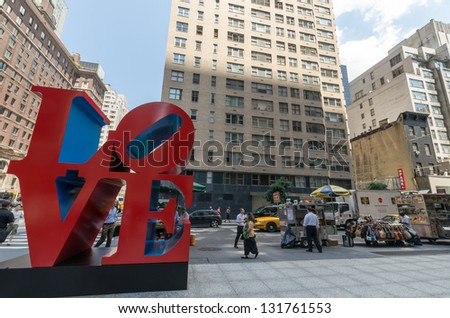 NEW YORK CITY - JULY 12: Love sculpture on July 12, 2012 in New York. LOVE is a sculpture by American artist Robert Indiana. - stock photo