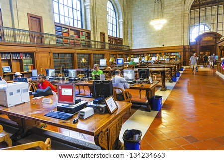 NEW YORK CITY - JULY 10: New York Public Library is the third largest public library in North America.  July 10, 2010 in Manhattan, New York City. People study there since 1902. - stock photo