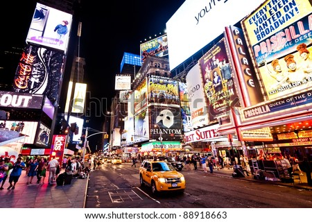 NEW YORK CITY - JULY 1: Times Square featured with Broadway Theaters and animated LED signs is a symbol of New York City and the United States, July 1, 2011 in Manhattan, New York City. - stock photo