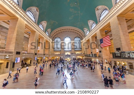 NEW YORK CITY - JULY 17: View inside Grand Central on July 17, 2014 in New York. Grand Central is a commuter rail terminal station at Manhattan. - stock photo