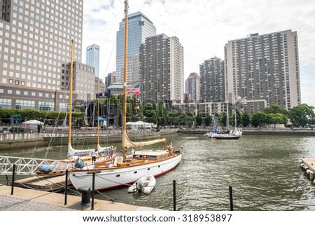 NEW YORK CITY - JULY 13: View on Brookfield Place on July 13, 2015 in New York. Brookfield Place is a complex of office buildings located across West Street from the World Trade Center in Manhattan. - stock photo