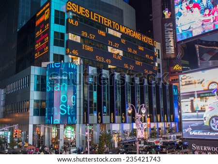 NEW YORK CITY - JUN 14: Famous lights and ads of Times Square on June 14, 2013 in New York City. Approximately a third of a million people pass through Times Square daily. - stock photo