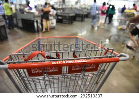 NEW YORK CITY - JUNE 29 2015: Costco announced that as of March 31 2015 American Express will no longer be the exclusive credit accepted at their stores nationwide - stock photo