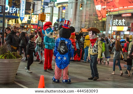 NEW YORK CITY - JUNE 18 2016: Costumed characters at Times Square in New York - stock photo