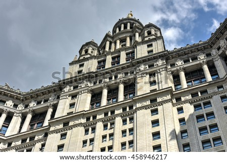 New York City - June 29, 2016: Municipal Building in Manhattan is a 40-story building built to accommodate increased governmental space demands after the 1898 consolidation of the city's five boroughs - stock photo