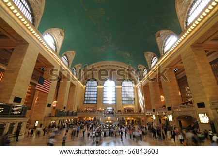 NEW YORK CITY - JUNE 29: People nside the historic Grand Central Terminal June 29, 2010 in New York, New York. - stock photo