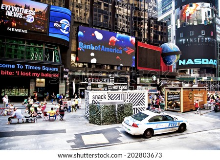 NEW YORK CITY - JUNE 28th, 2014: Times Square, famous tourist attraction featured with Broadway Theaters and famous restaurant and store locations in New York City, June 28, 2014 in New York City - stock photo