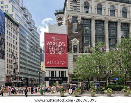 NEW YORK CITY - June 17, 2015 - The iconic Macy's store at Herald Square, New York City. - stock photo