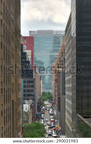 New York City - June 17, 2015: United Nations headquarters in New York City, USA as seen from Grand Central Terminal. - stock photo