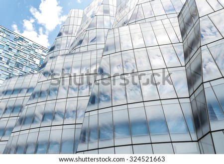 NEW YORK CITY - JUNE 13: View of IAC Building facade on June 10, 2015 in New York. The IAC Building, InterActiveCorp's headquarters  is a Frank Gehry-designed building that was completed in 2007. - stock photo