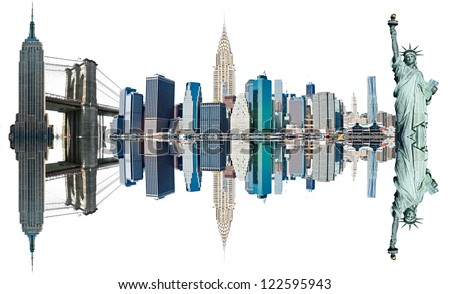 New York City Landmarks, USA. Isolated on white. - stock photo