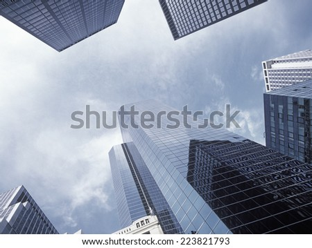 New York City - looking up. Buildings of Manhattan. - stock photo