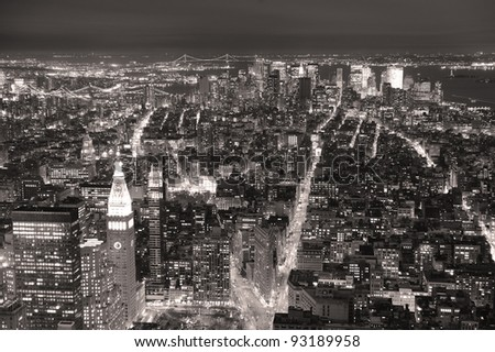 New York City Manhattan aerial view at dusk with urban city skyline and skyscrapers buildings black and white - stock photo
