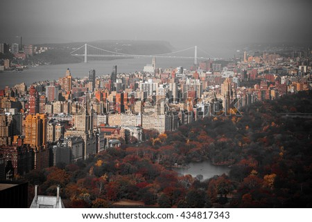 New York City Manhattan Central Park . black and white photo with the color red. - stock photo