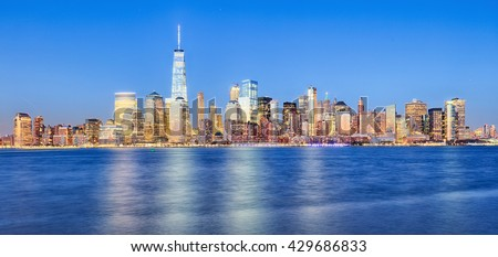 New York City Manhattan downtown skyline with skyscrapers,  including the One World Trade Center - stock photo