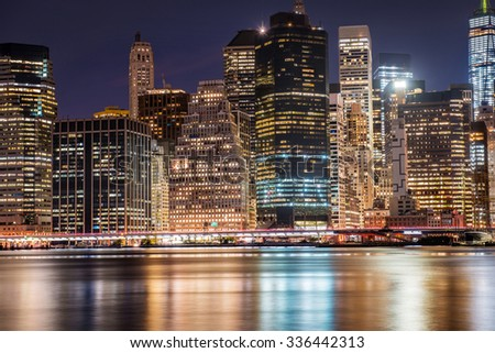 New York City Manhattan Downtown skyscrapers skyline at the night