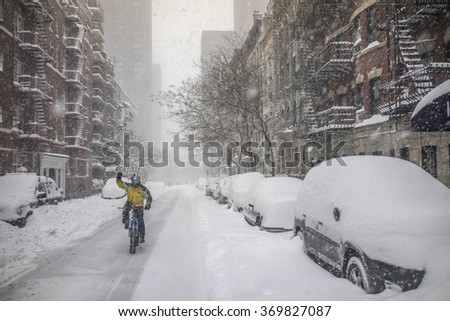 New York City Manhattan during blizzard of January 22rd and 23rd 2016 - stock photo
