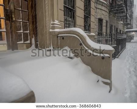 New York City Manhattan during winter snow storm in 2016 - stock photo