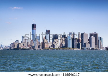 New York City - Manhattan from ferry - stock photo