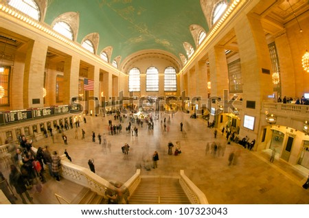 New York City - Manhattan Grand Central Station with people walking - Blur - stock photo