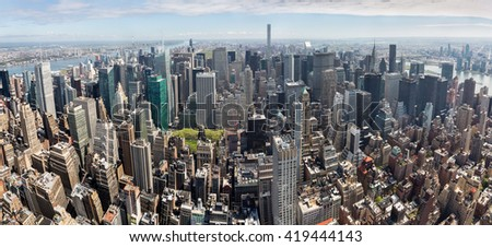New York City Manhattan midtown aerial panorama view with skyscrapers - stock photo