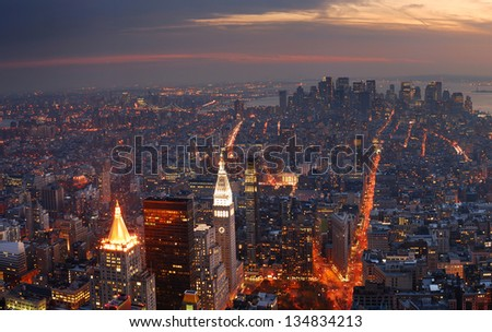 New York City Manhattan panorama aerial view with skyline at sunset. - stock photo