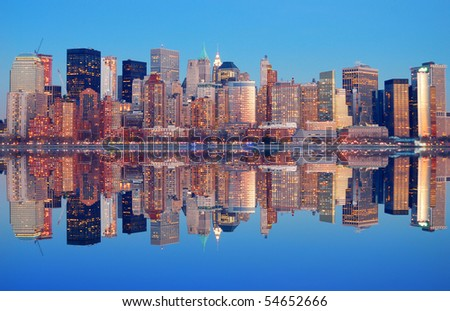 New York City Manhattan Panorama at dusk with skyscrapers and reflection - stock photo