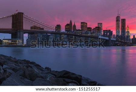 New York City Manhattan panorama at sunset - stock photo