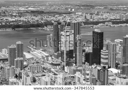 New York City Manhattan skyline aerial view black and white with skyscrapers and Hudson. - stock photo