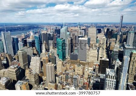 New York City Manhattan skyline aerial view in morning - stock photo