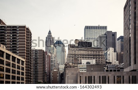 New York City Manhattan skyline aerial view with Empire State building - stock photo