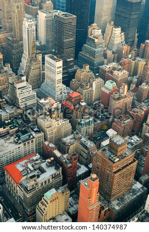 New York City Manhattan skyline aerial view with street and skyscrapers. - stock photo