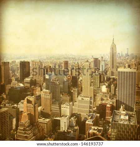 New York City Manhattan skyline in grunge and retro style.  - stock photo
