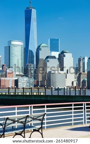 New York City Manhattan skyline over Hudson River viewed from New Jersey - stock photo
