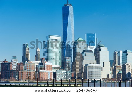 New York City Manhattan skyline over Hudson River viewed from New Jersey - stock photo