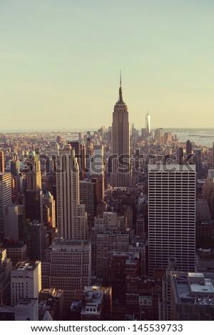 New York City Manhattan skyline panorama with Empire State Building - stock photo