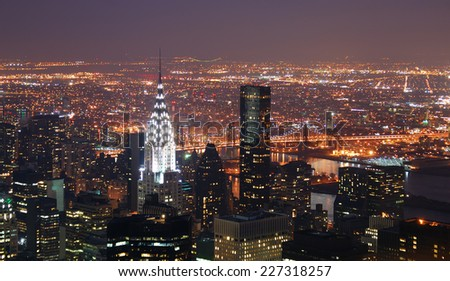 New York City Manhattan skyline with Chrysler building and skyscrapers aerial view. - stock photo