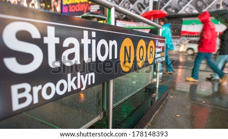 New York City. Manhattan subway signs and directions. - stock photo